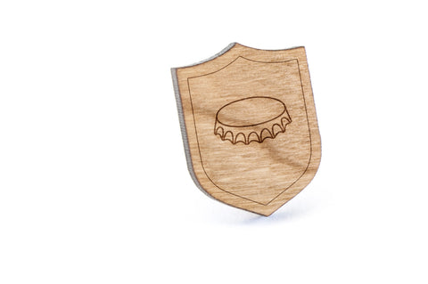 Bottle Cap Wood Lapel Pin