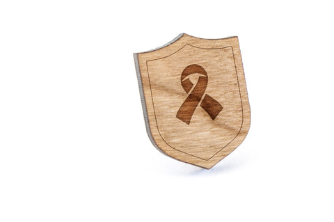 AIDS Ribbon Wood Lapel Pin