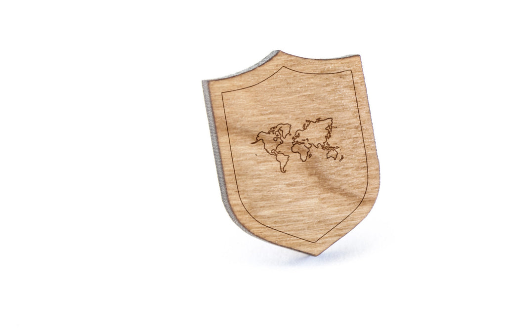 World Map Wood Lapel Pin