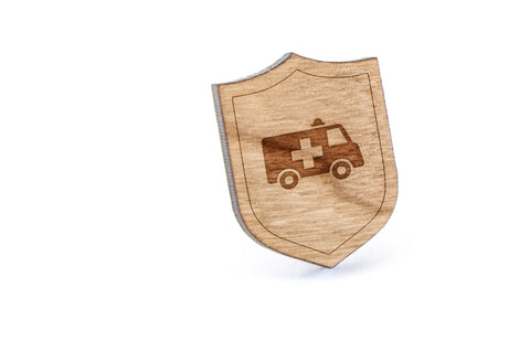Ambulance Wood Lapel Pin