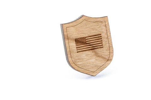 American Flag Wood Lapel Pin