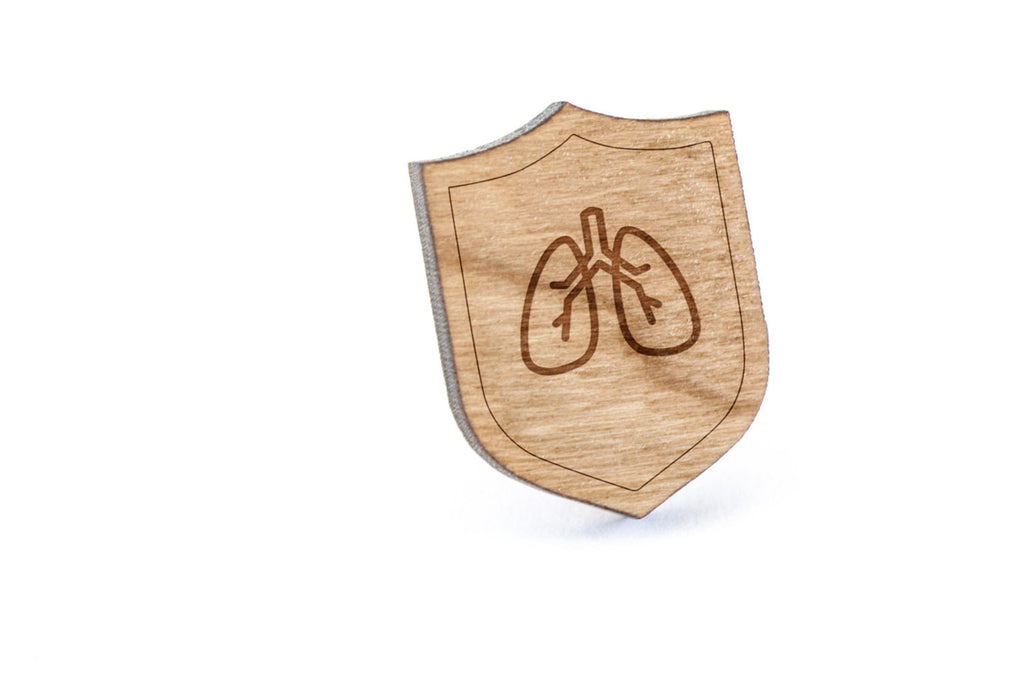 Anatomical Lungs Wood Lapel Pin