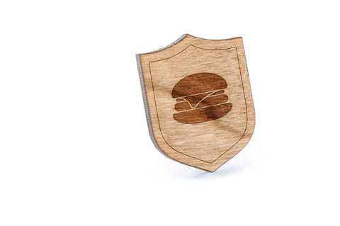 Burger Wood Lapel Pin