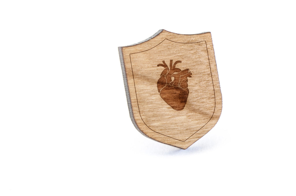 Anatomical Heart Wood Lapel Pin