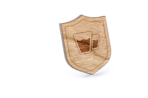 Glasses Wood Lapel Pin