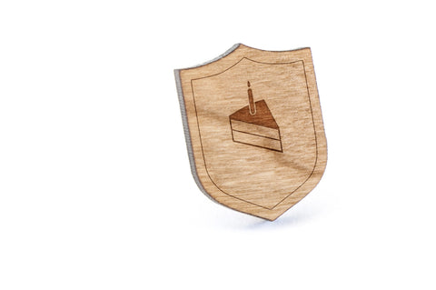 Cake Slice Wood Lapel Pin
