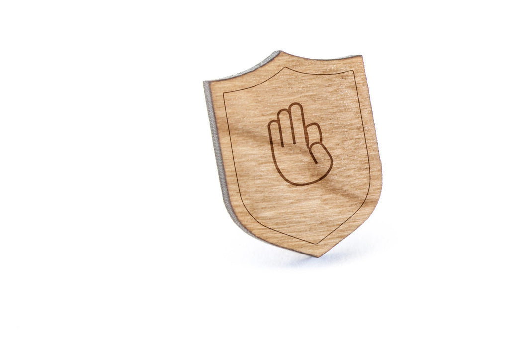 Asl D Wood Lapel Pin