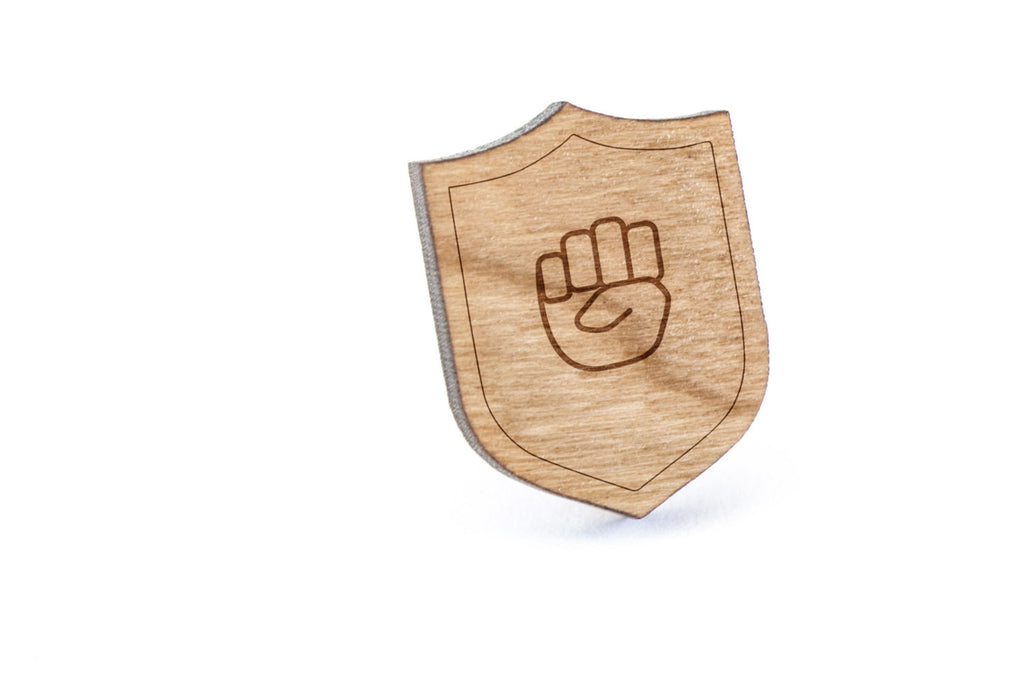 Asl E Wood Lapel Pin