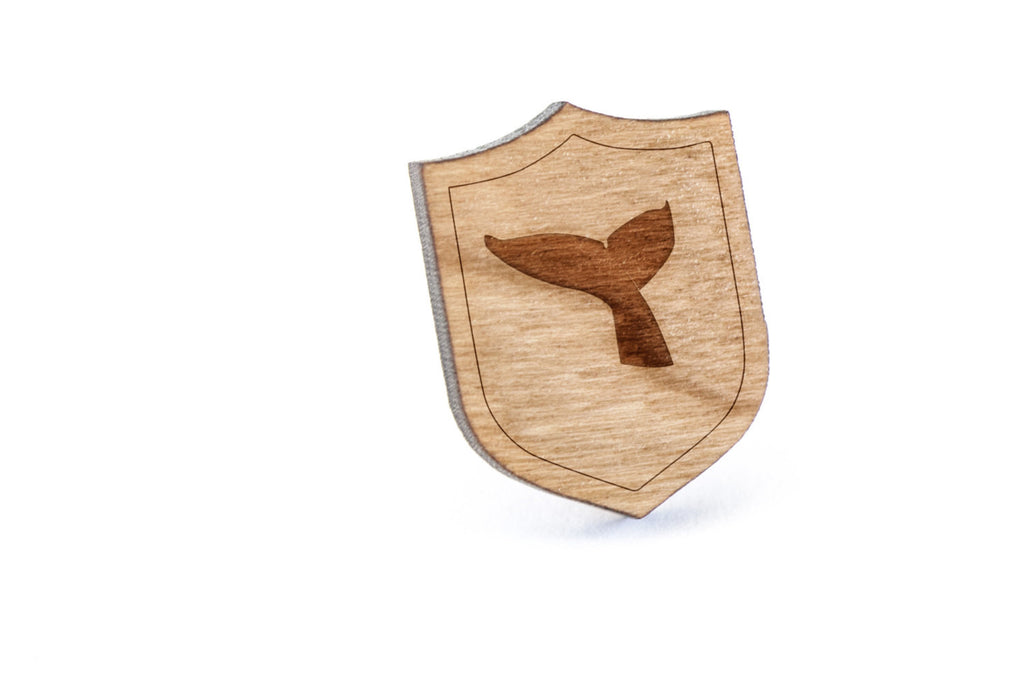 Whale Tail Wood Lapel Pin