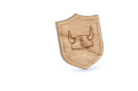 Viking Helmet Wood Lapel Pin