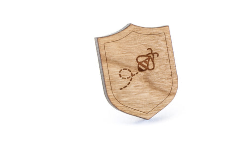 Bee Wood Lapel Pin