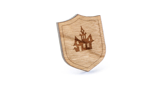 Haunted House Wood Lapel Pin