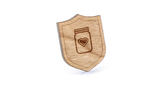 Mason Jar Heart Wood Lapel Pin