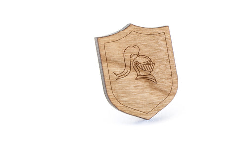 Knight Helmet Wood Lapel Pin