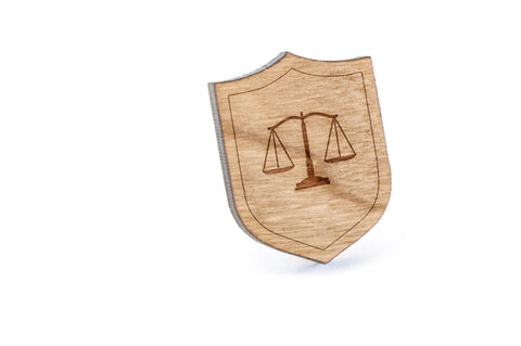 Law Scale Wood Lapel Pin