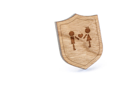 Love Couple Wood Lapel Pin