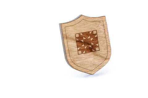 Quilt Wood Lapel Pin