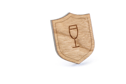 Champagne Glass Wood Lapel Pin