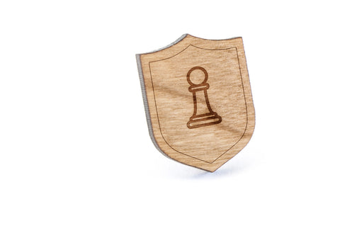 Chess Pawn Wood Lapel Pin