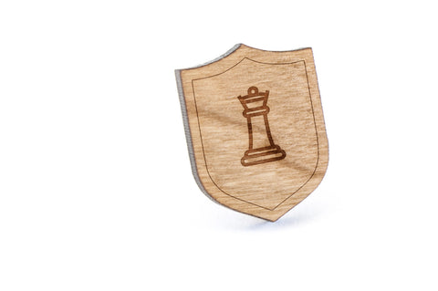 Chess Queen Wood Lapel Pin