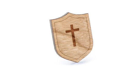Christian Cross Wood Lapel Pin