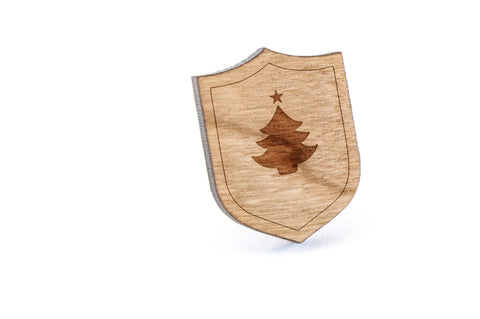 Christmas Tree Wood Lapel Pin