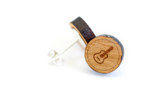 Acoustic Guitar Wood Earrings