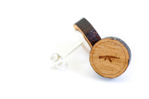 Ak47 Wood Earrings