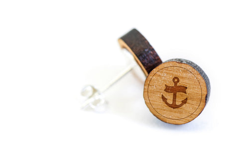 Anchor Navy Wood Earrings