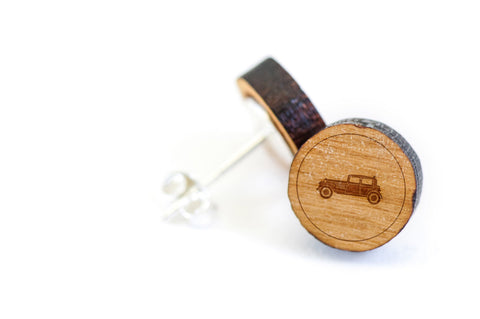 Antique Car Wood Earrings