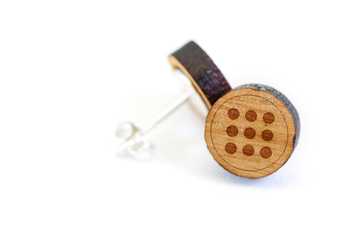 Circle Grid Wood Earrings