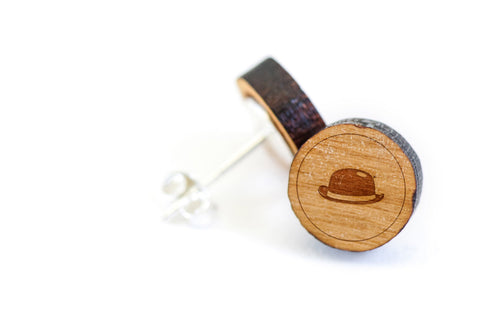 Bowler Hat Wood Earrings