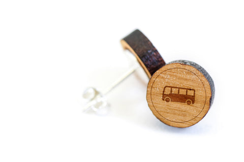 Bus Wood Earrings