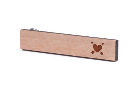 Arrow In Heart Wood Tie Clip