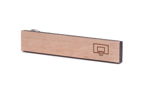 Basketball Hoop Wood Tie Clip