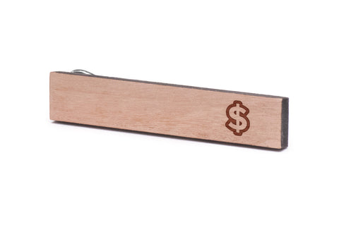 Dollar Sign Wood Tie Clip