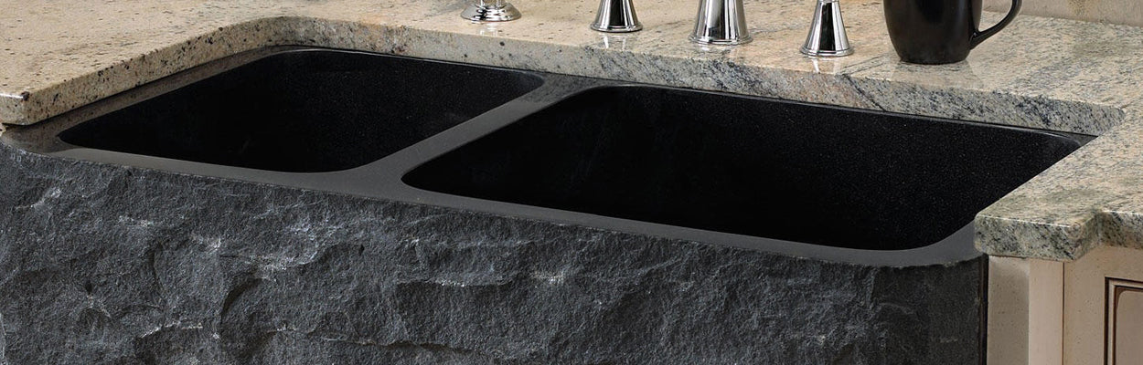 Reversible 60/40 Double Basin Farmhouse Kitchen Sink in Natural Black Granite, NKS-DBNAN