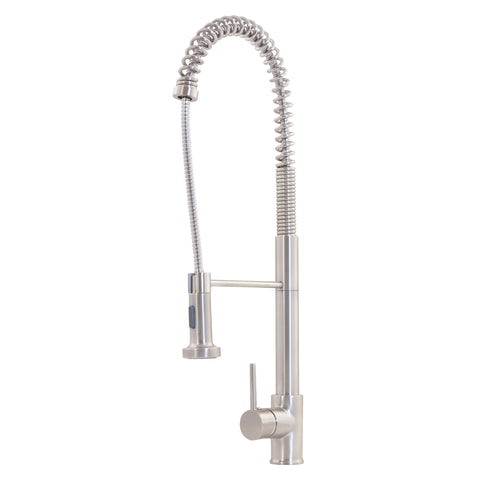 dual action pull down brushed nickel kitchen faucet