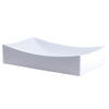 Bright white glossy ceramic vessel sink with no overflow