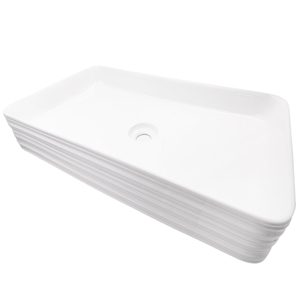 Rectangular White Porcelain Sink with Grooved Exterior, NP-208513