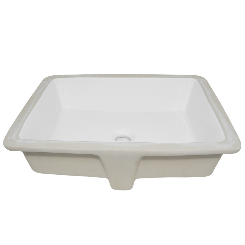 Shallow Rectangular Undermount White Porcelain Sink with Overflow, NP-U193911