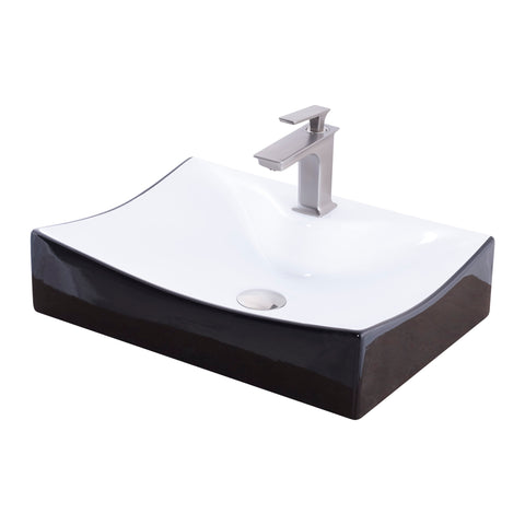 Rectangular Black and White Porcelain Sink Set