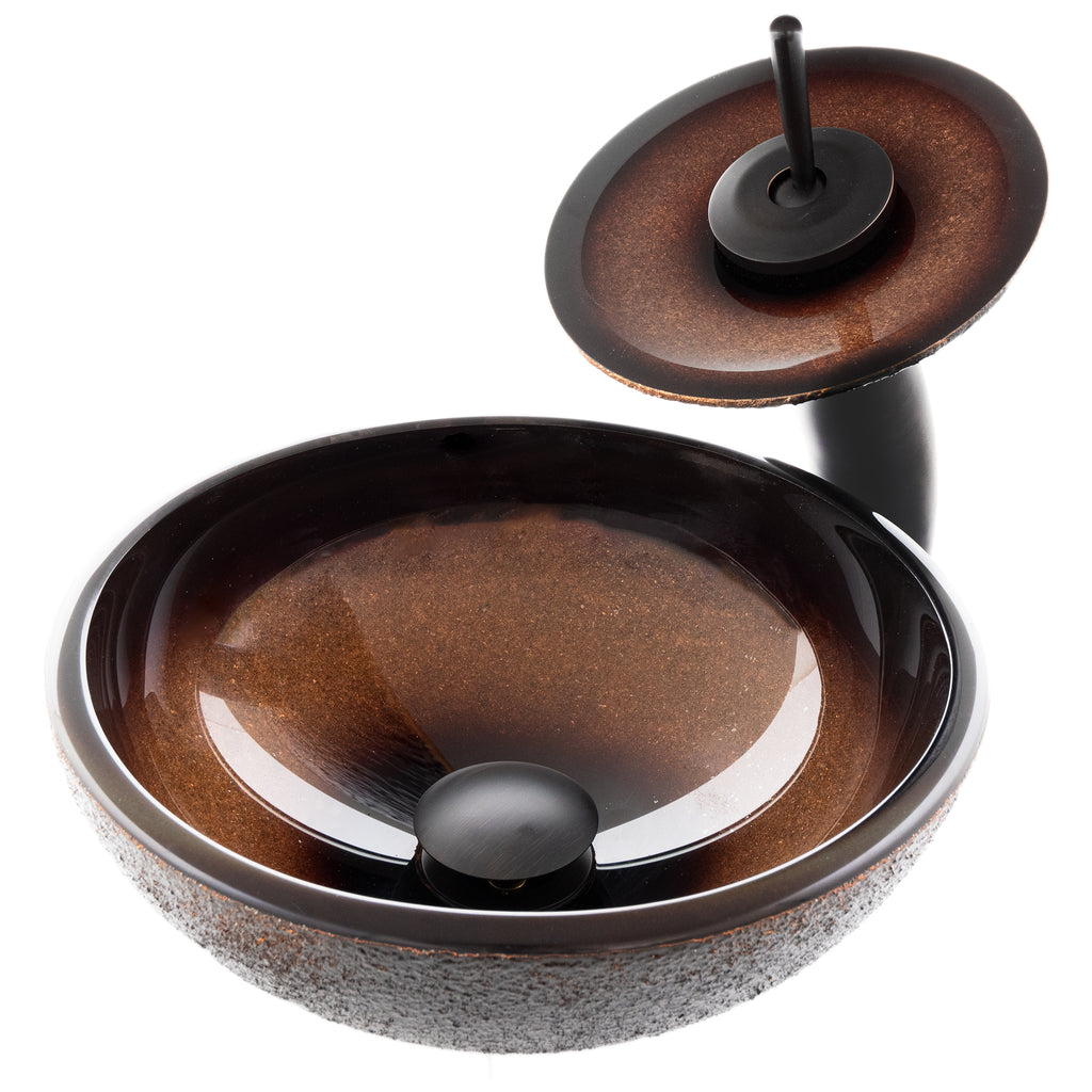 Mini Round Black and Copper Glass Bath Sink Combo NSFC-008-1217003ORB