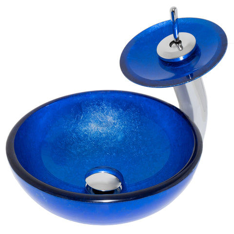 "12"" Mini Blue Hand-Foiled Glass Bath Sink"