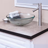 bathroom vessel faucet in brushed nickel w/ bonificare glass vessel sink