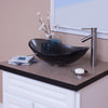 bathroom vessel faucet in brushed nickel w/ bigio glass vessel sink