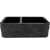 Farmhouse Kitchen Sink in Black Granite with Chiseled Apron