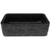 Single Bowl Kitchen Sink in Black Granite Chiseled Apron
