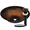 Black and Copper Round Glass Vessel Bathroom Sink NOHP-G008