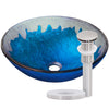 blue and silver glass sink with brushed nickel pop-up drain